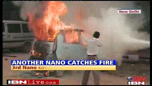Tata Nano catches fire