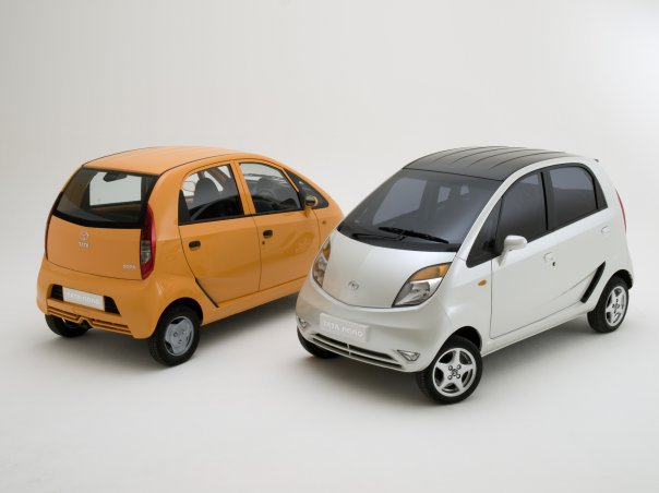 Tata Nano white and Tata Nano orange