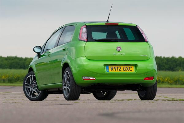 2013 Fiat Punto in the UK rear profile