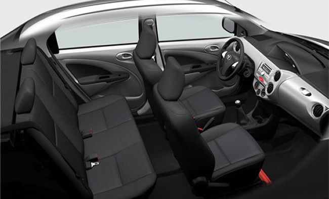 Toyota Etios for Brazil - cabin with height adjustable headrests