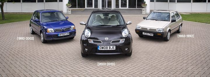 Three generations of Nissan Micra or Nissan March