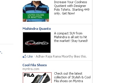 Mahindra Quanto Facebook advertisement