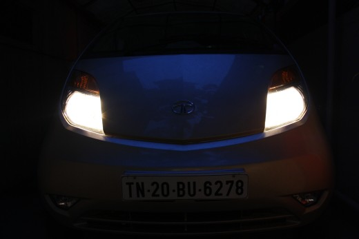 Tata Nano headlights on