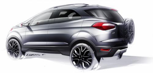 Ford EcoSport rear three quarters sketch