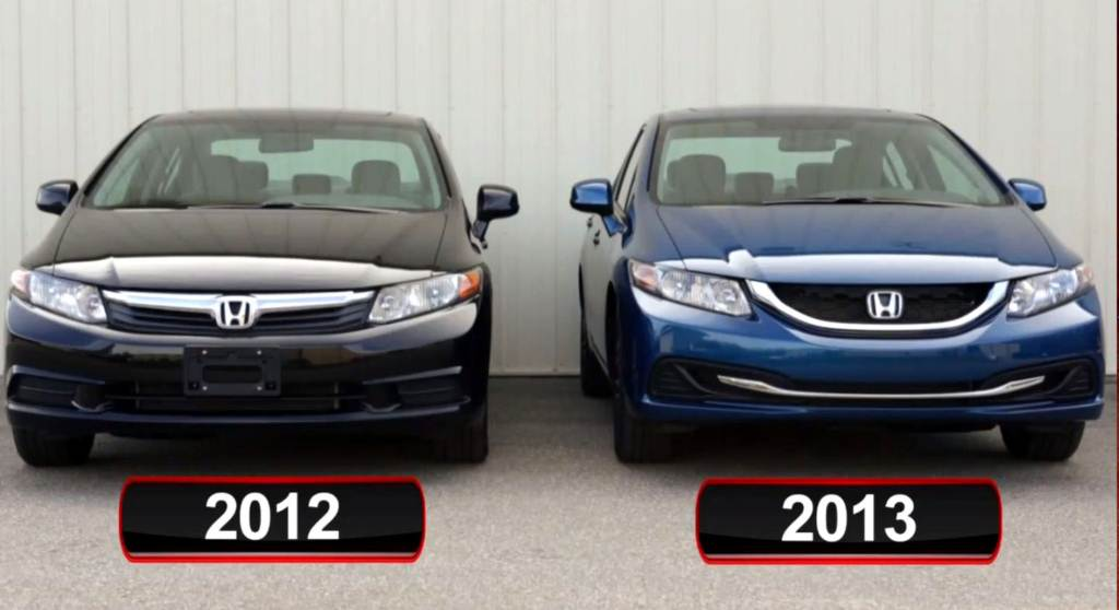 2012 Honda Civic Vs 2013 Honda Civic Front
