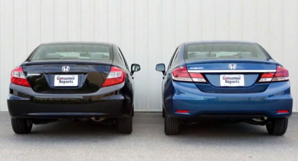 2012 Honda Civic vs 2013 Honda Civic rear