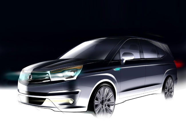 2014 Ssangyong Rodius front official sketch