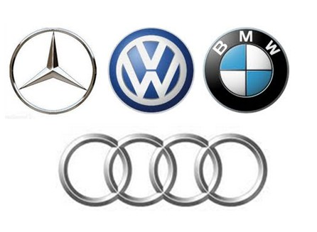 Mercedes, Audi, BMW, VW emblems