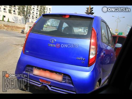 Tata Nano Kinetic Blue body color rear profile