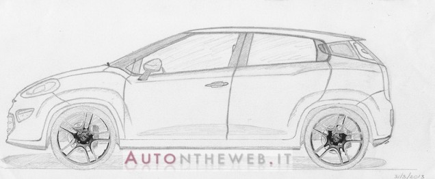 next gen Fiat Punto hand sketch side