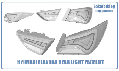 Hyundai Elantra facelift tail lamps part drawing