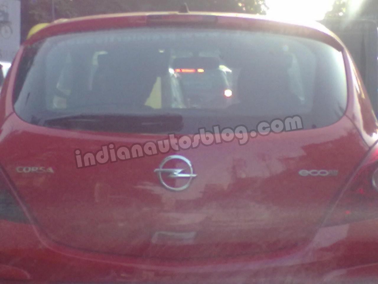 Opel Corsa spied Bengaluru badges