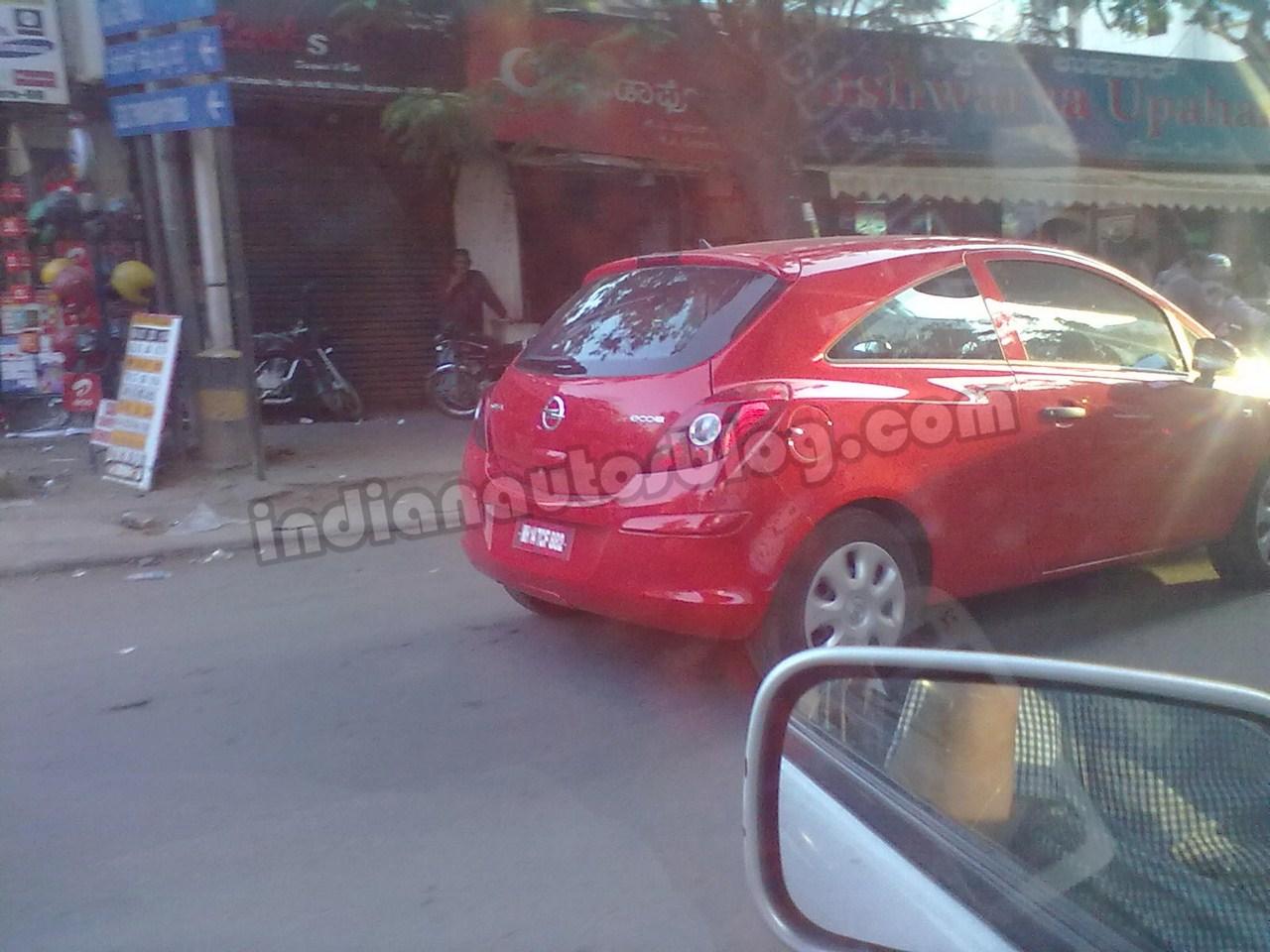 Opel Corsa spied Bengaluru rear three quarters