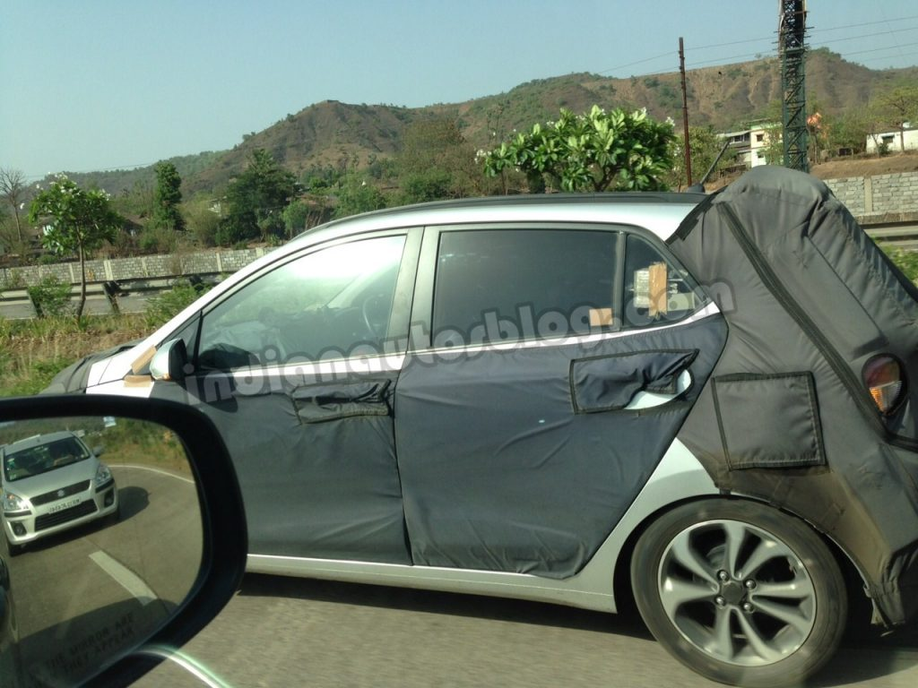 Side view of the 2014 Hyundai i10 caught testing