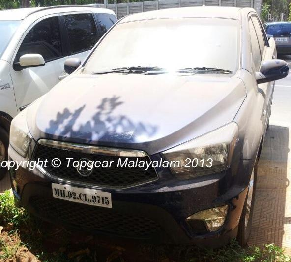 Ssangyong Actyon pickup spied in India front three quarter