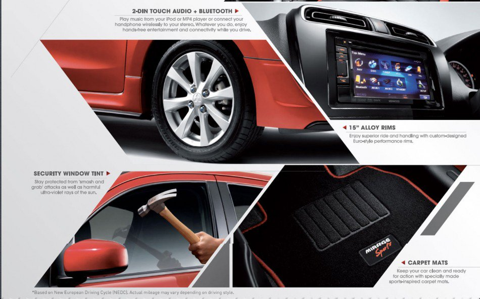Features of the Mitsubishi Mirage SPorts limited edition Malaysia