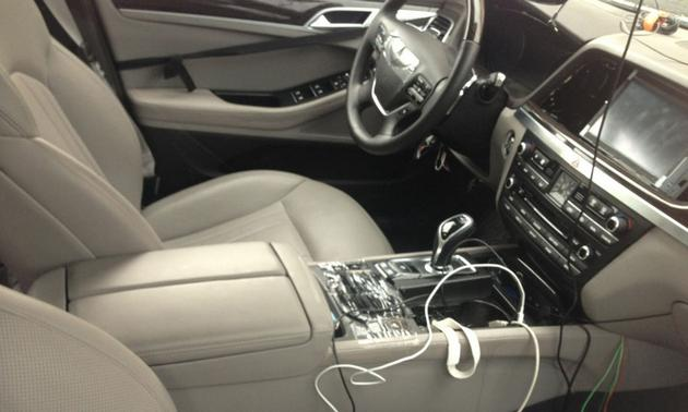 Interior of the next gen Hyundai Genesis sedan spied
