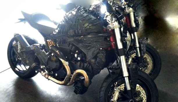 Side of the Ducati Monster 1198 spied