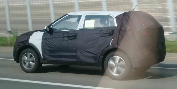 side view of the Hyundai mini SUV spied in South Korea