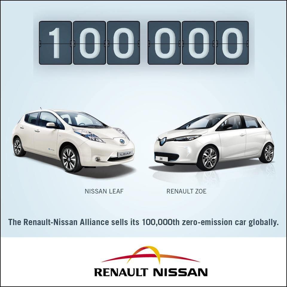 Renault Nissan 100,000th Zero Emission Car sold