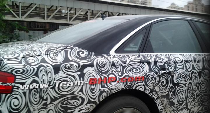 2014 Audi A8 facelift spied India rear pillar