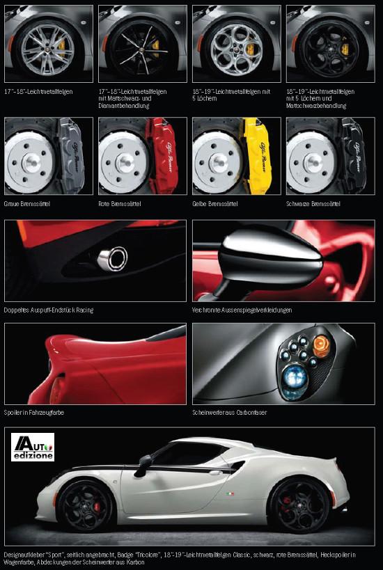 Brochure leak of the Alfa Romeo 4C - accessories
