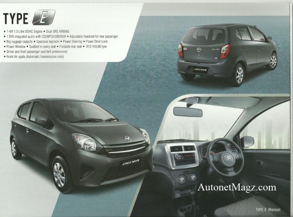 Toyota Agya E Variant details