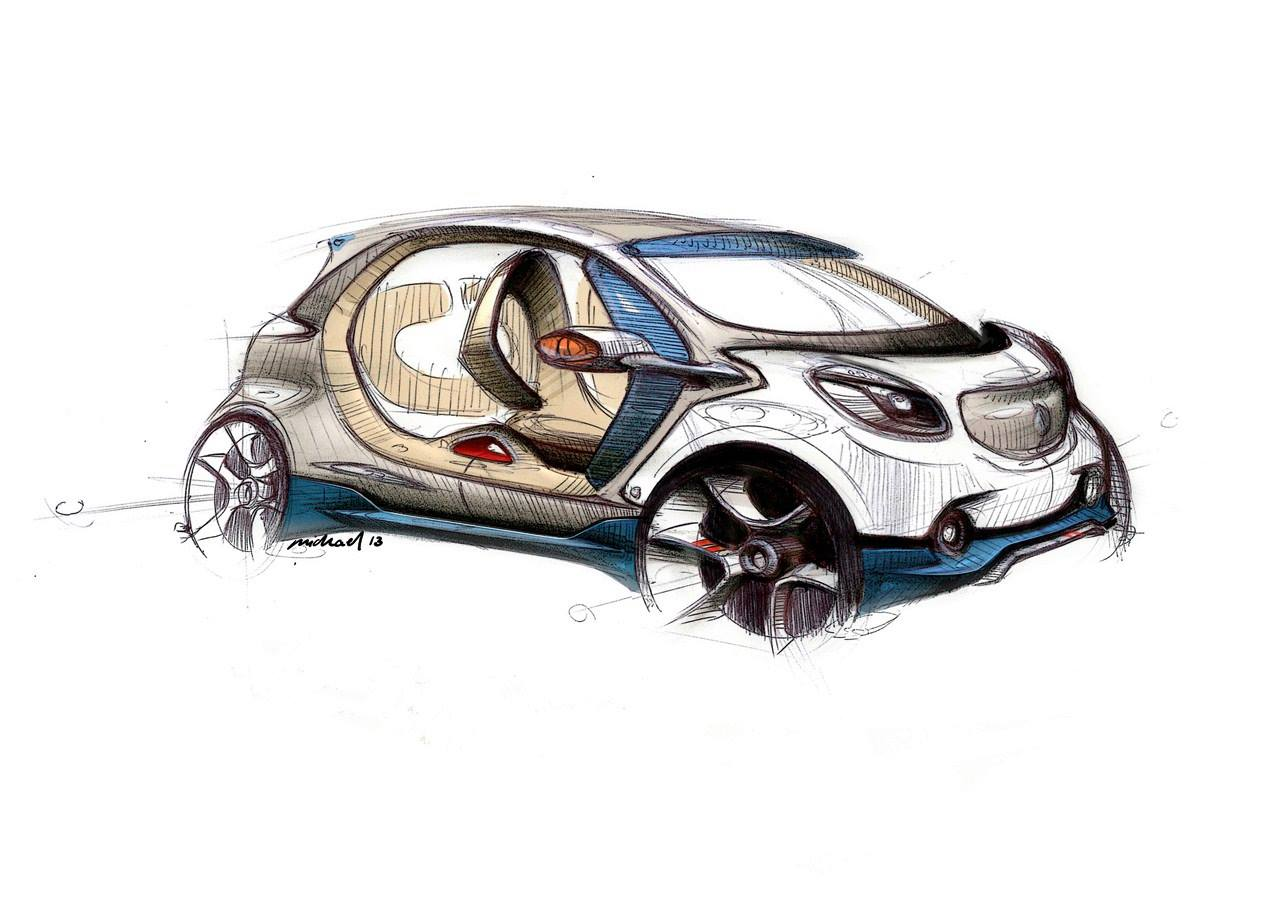 Front three quarter sketch of the Smart Fourjoy Concept