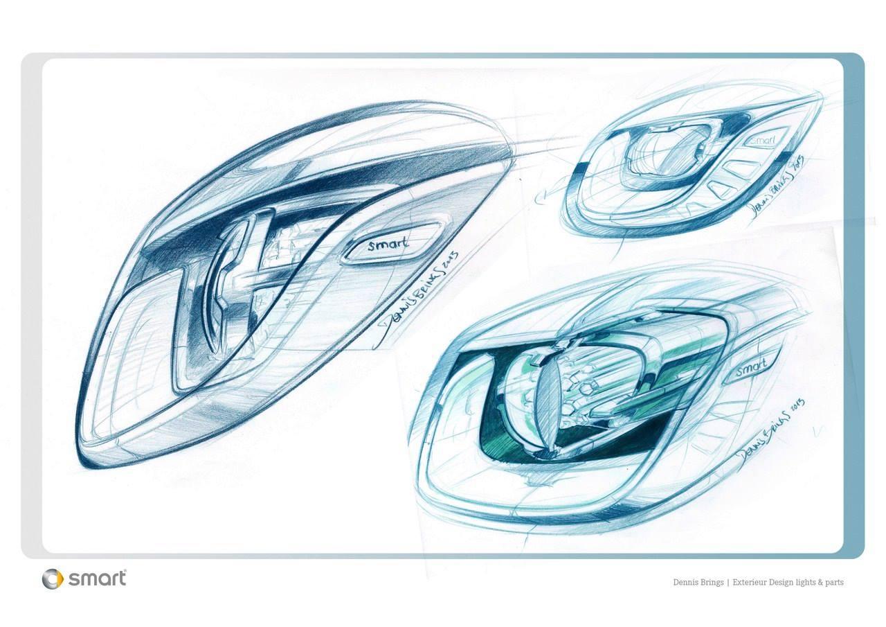 Headlamps skeetch of the Smart Fourjoy Concept