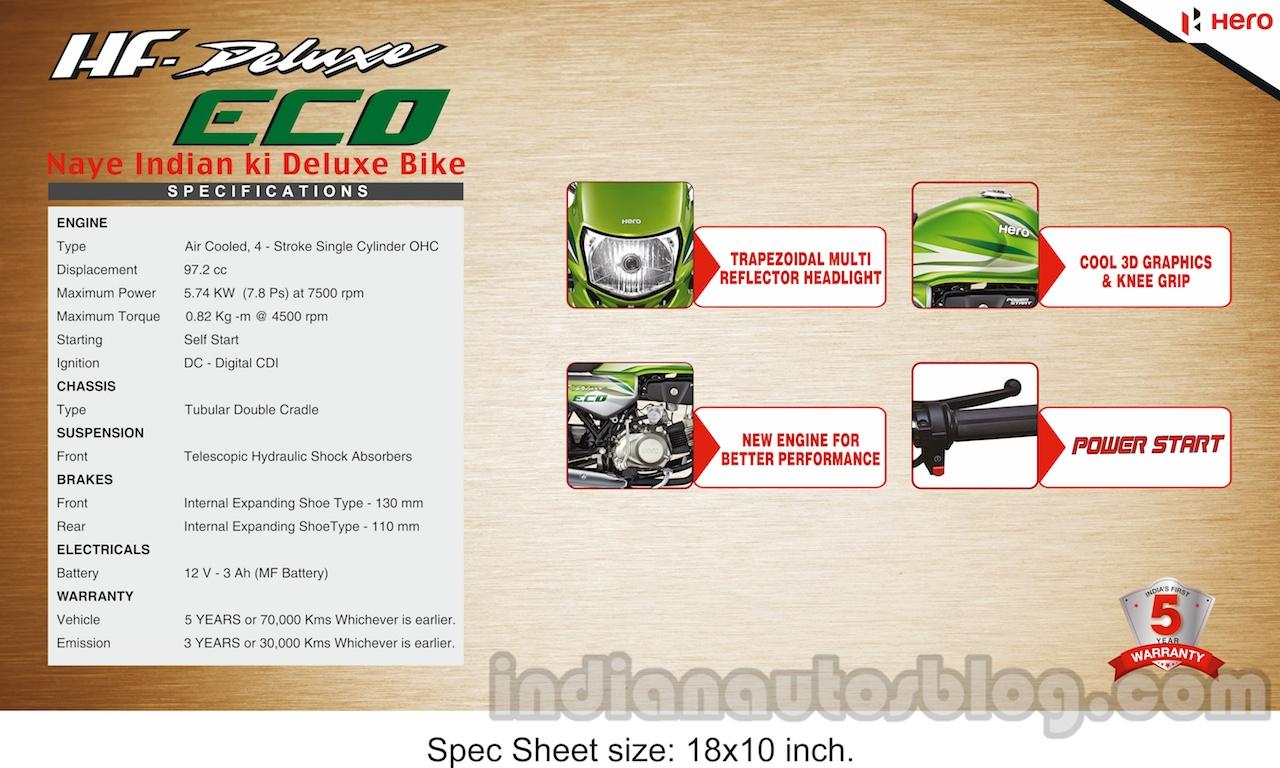 Hero HF Deluxe ECO specifications