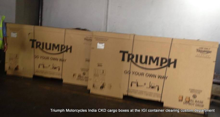 Triumph Motorcycle clearing customs in India