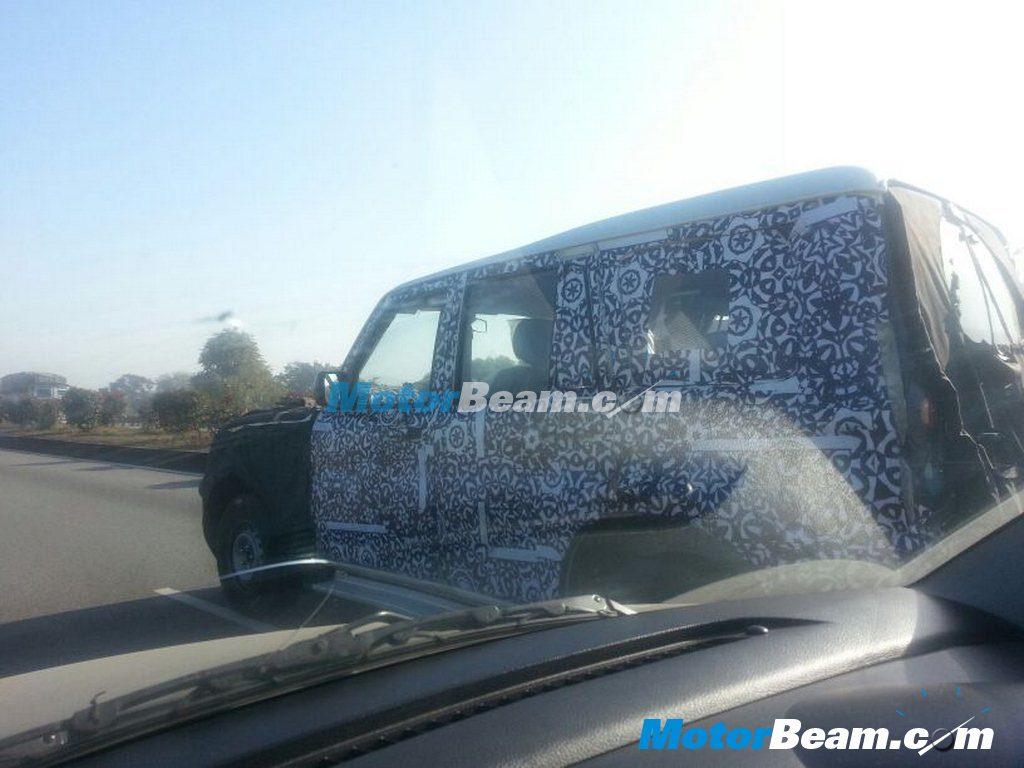 Mahindra Scorpio facelift rear three quarter spyshot