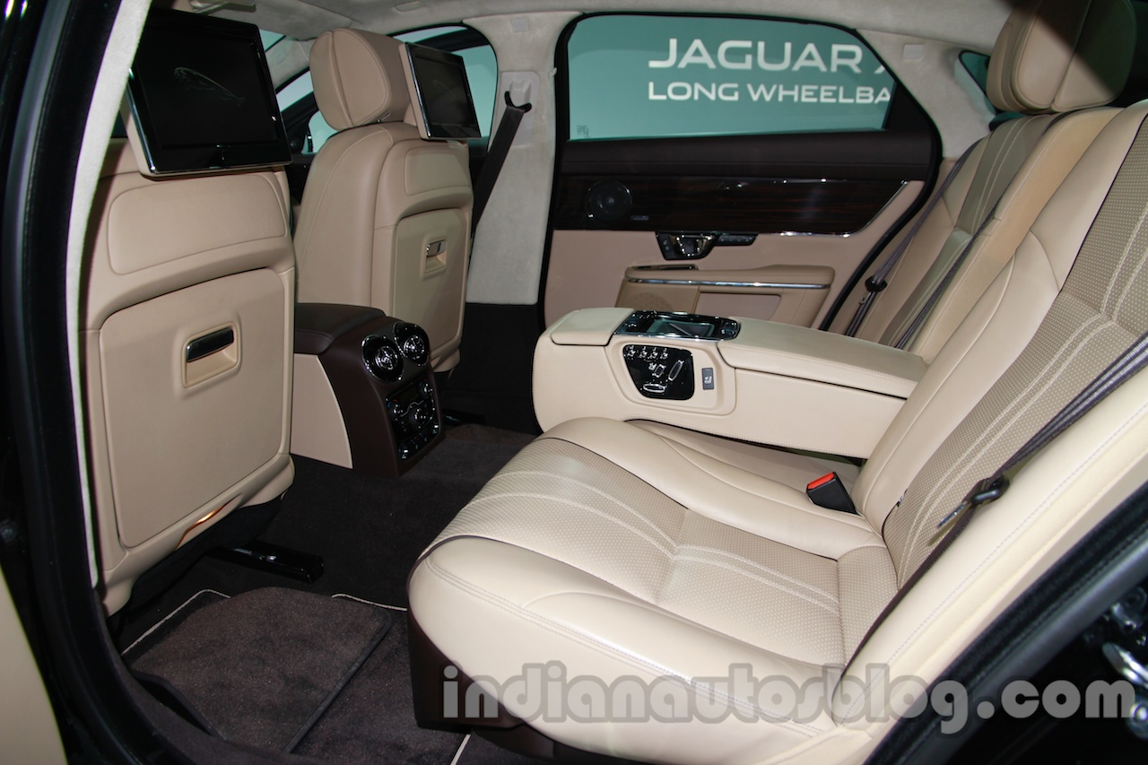 2014 Jaguar XJ rear seat legroom at Auto Expo 2014