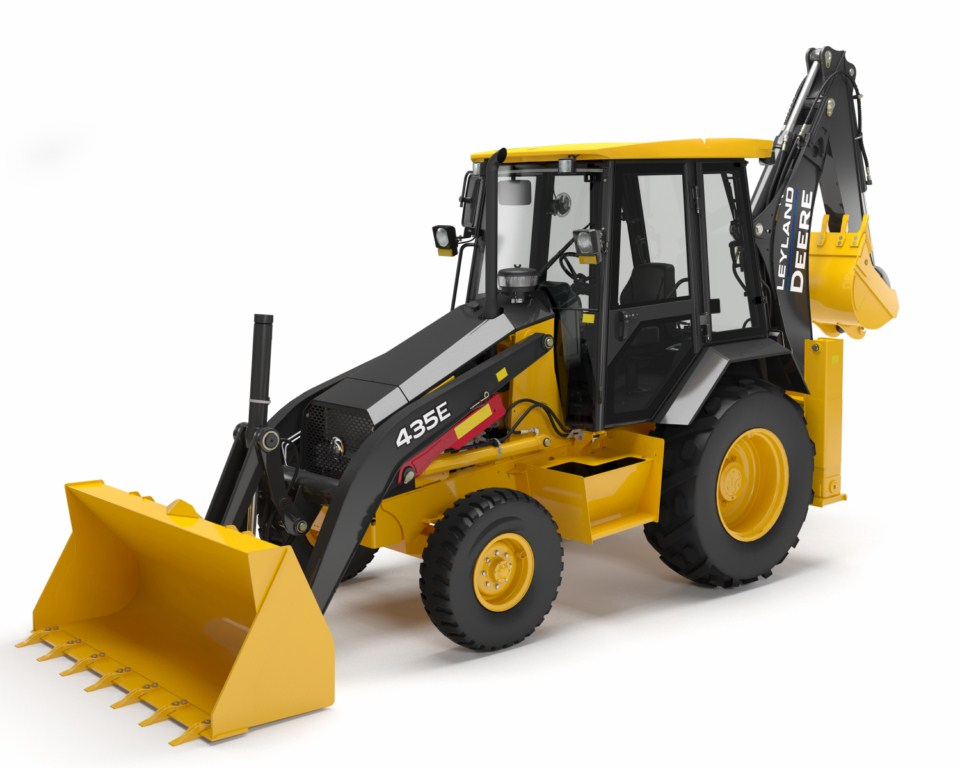 Ashok Leyland John Deere 435E Back Hoe Loader front three quarter press shot
