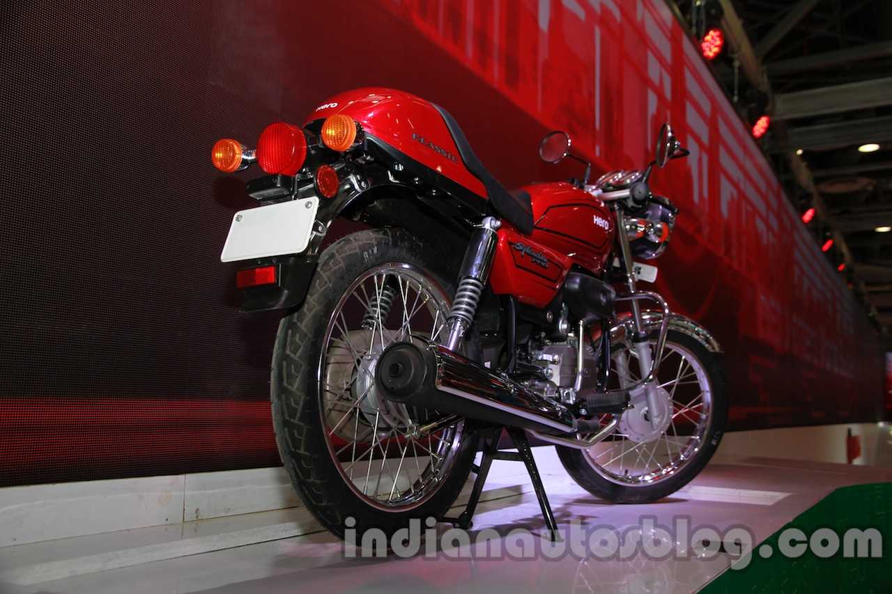 Auto Expo 2014 Hero Splendor Pro Classic Cafe Racer rear quarter