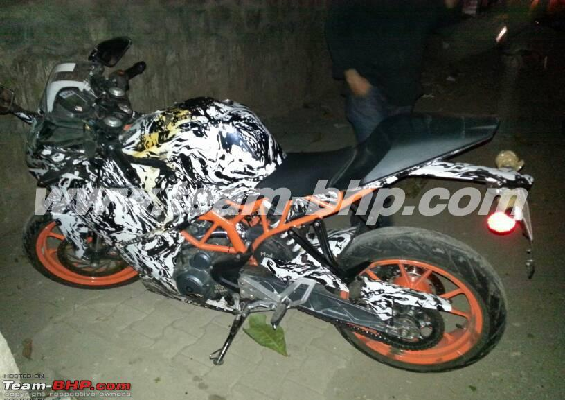 KTM RC390 caught on test India side angle