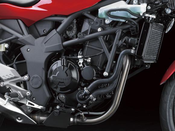 Kawasaki Ninja 250 RR Mono engine and radiator detail press shot