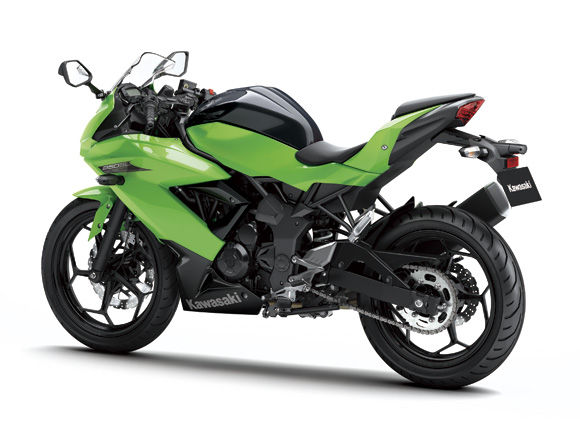 Kawasaki Ninja 250 RR Mono rear three quarter press shot