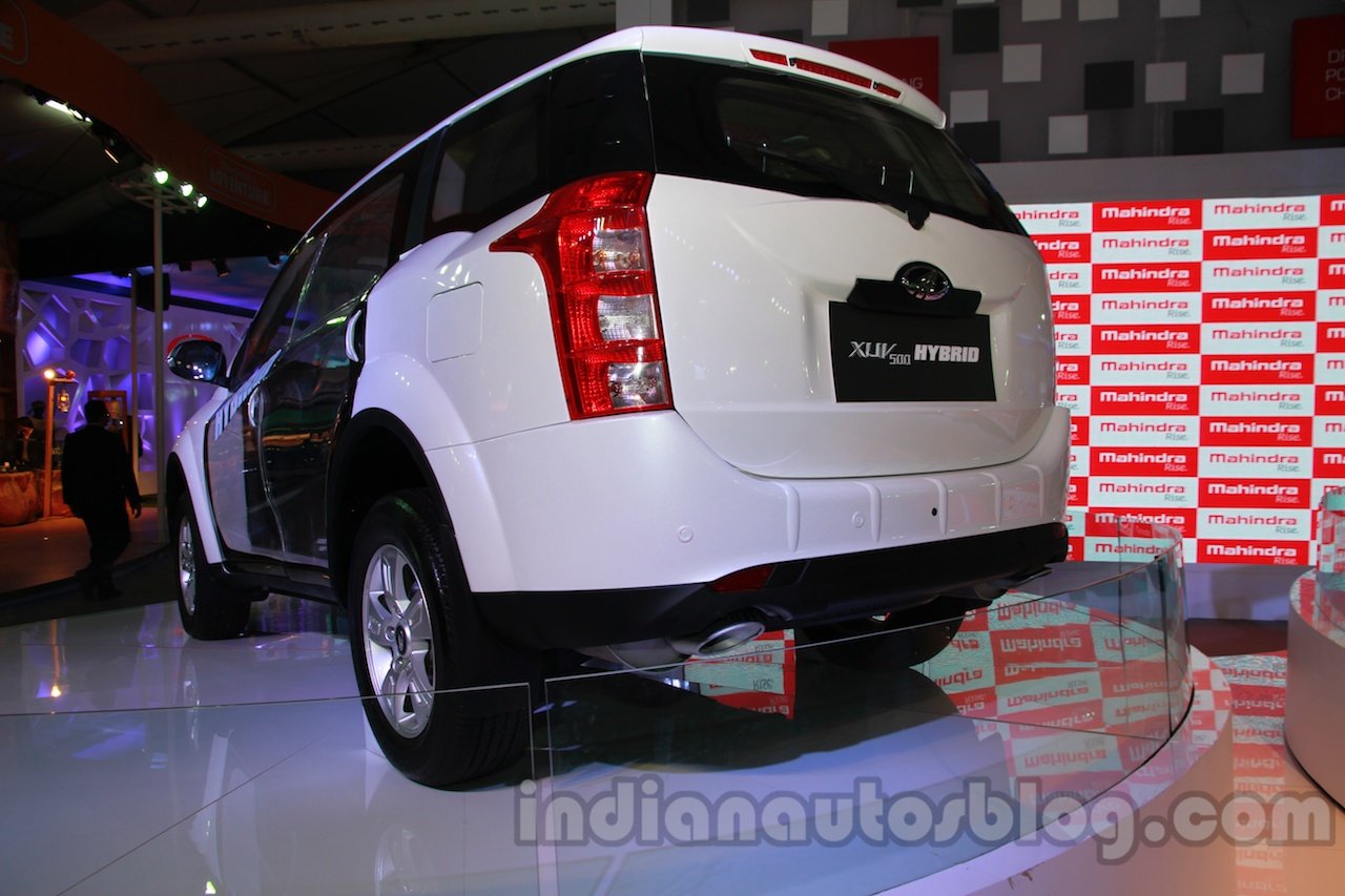 Mahindra XUV500 diesel hybrid rear three quarters at Auto Expo 2014