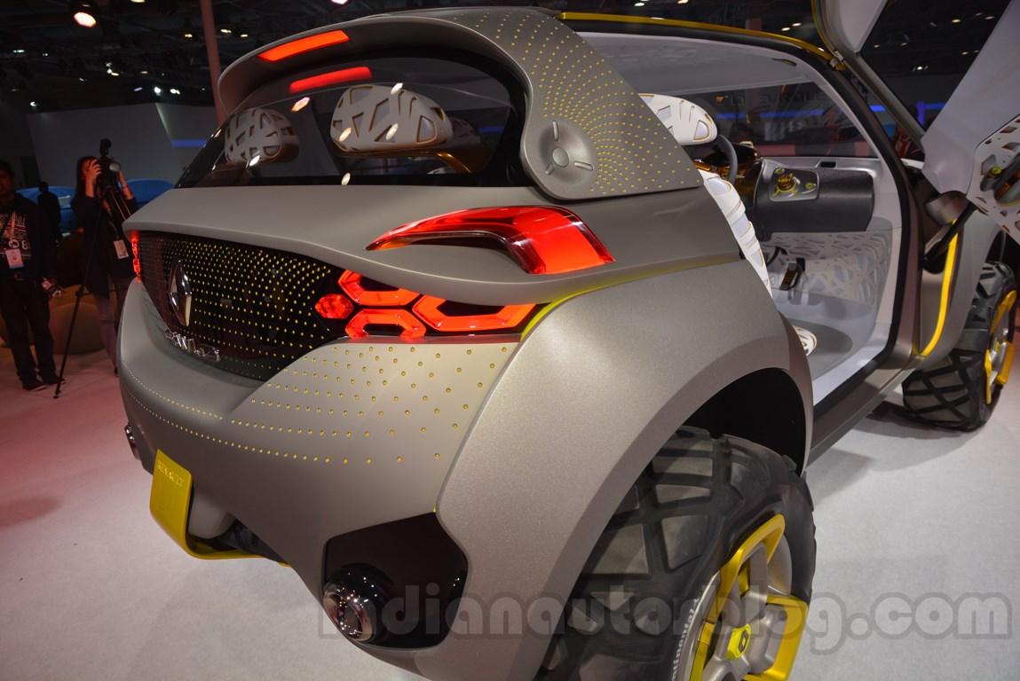 Renault's KWID concept rear three quarters Auto Expo showcase