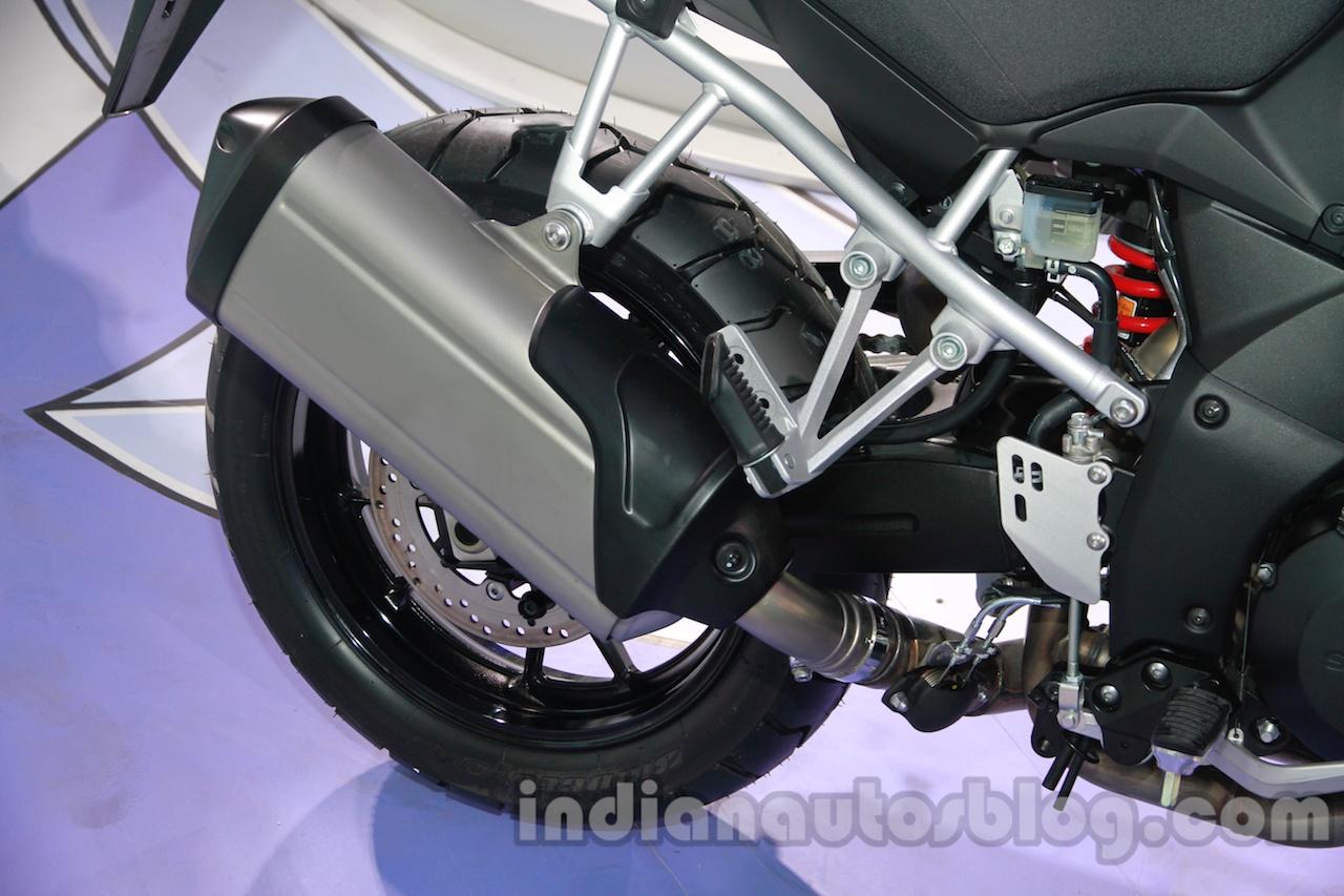 Suzuki V-Strom 1000 ABS exhaust at 2014 Auto Expo