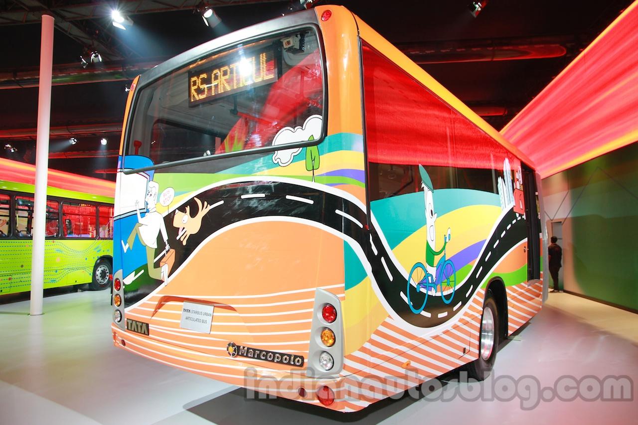 Tata Starbus Urban 918 articulated bus rear three quarters