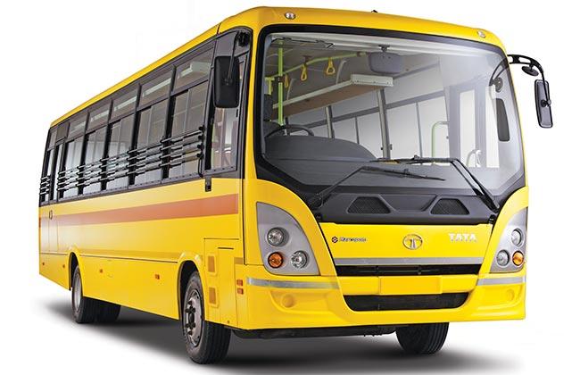 Tata Starbus skool front three quarter press shot