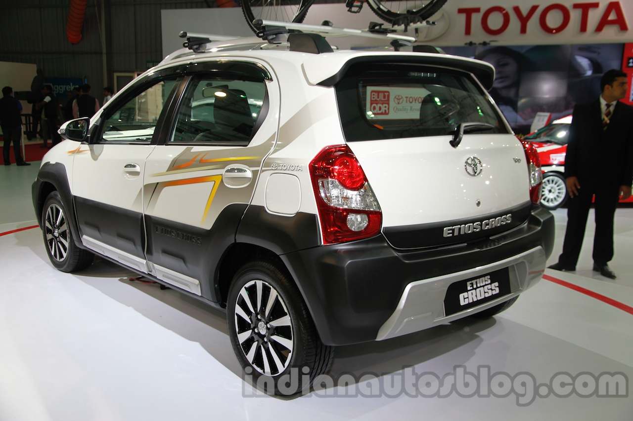 Toyota Etios Cross with accessories rear three quarters left at Auto Expo 2014