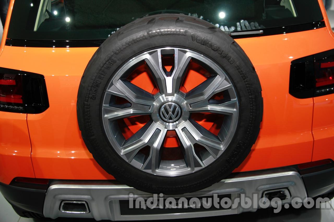 VW Taigun spare wheel at Auto Expo 2014