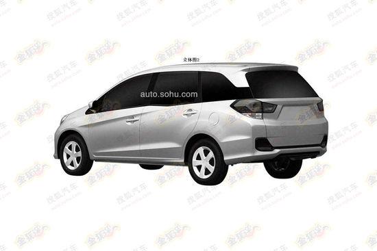 Honda Mobilio rear three quarter China patent image