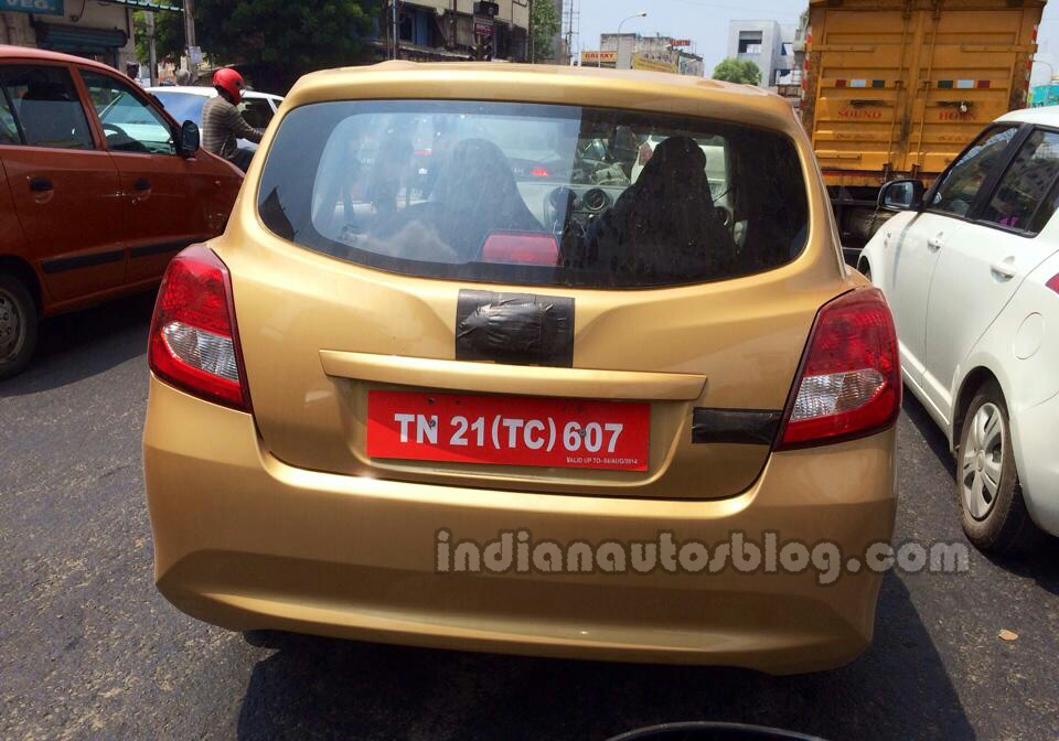 Datsun Go+ MPV spied in India rear