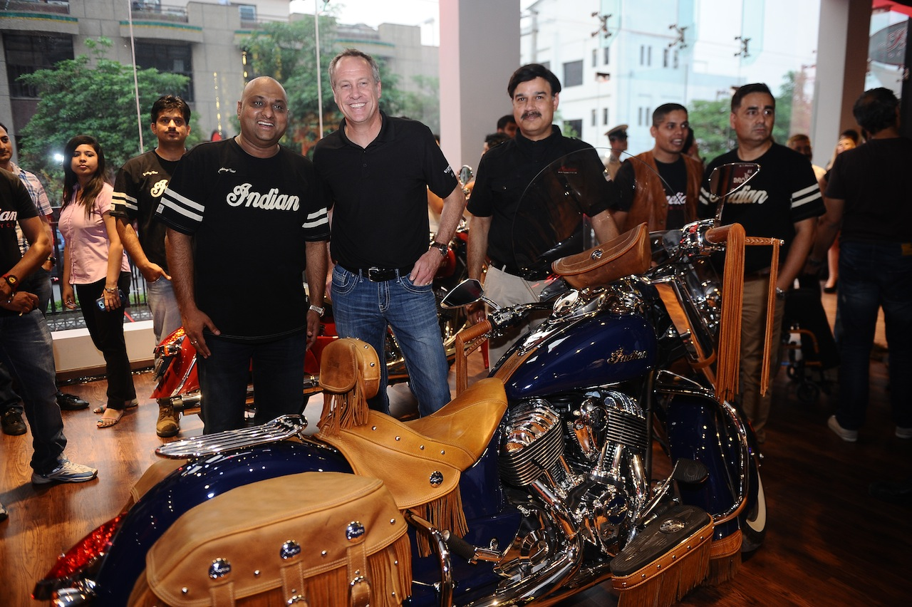 Indian Motorcycle Dealership Launch (L to R) Mr Sandeep Bansil, Dealership Principal - Indian Motorcycle, Mr Bennett Morgan, COO-Polaris Industries, Mr Pankaj Dubey - MD Polaris India