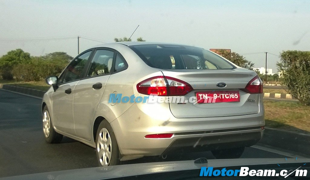 Spied 2014 Ford Fiesta Facelift in Chennai rear