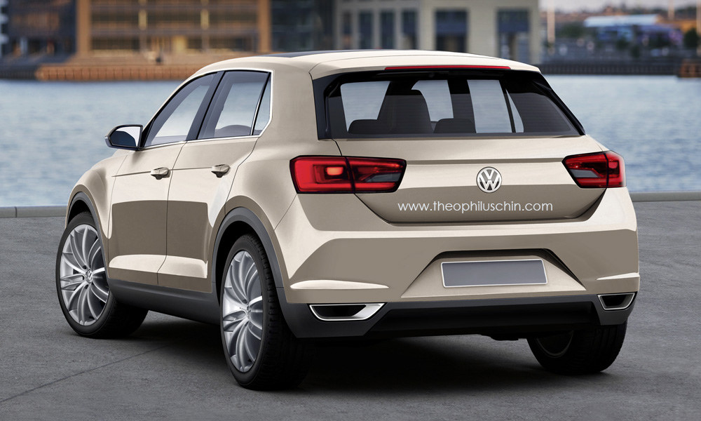 vw t roc production version rendering rear. Black Bedroom Furniture Sets. Home Design Ideas